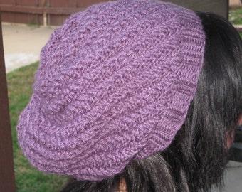 Purple, swirly slouch hat.