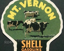 Shell Gasoline 1920s Travel Decal Magnet for MOUNT VERNON (WA). Accurate reproduction & hand cut in shape as designed. Nice Travel Decal Art