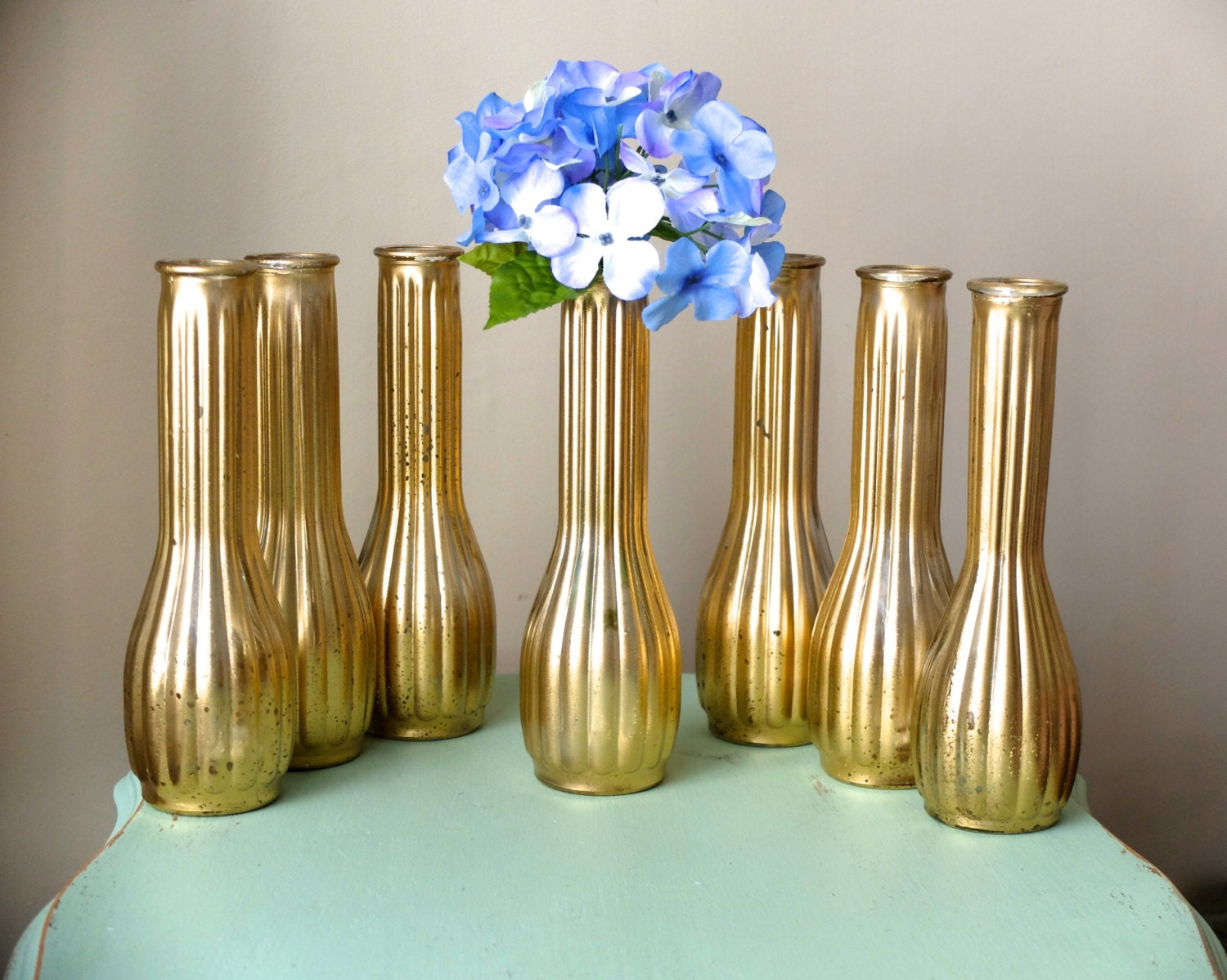 Beautiful set of metallic yellow distressed gold tall vases