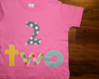 2 Year Old Birthday Shirt, Toddler Girl Birthday Shirt, Second Birthday Shirt with Pink-Chevron