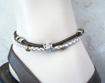 Brown and Antique White, Leather Anklet, Brown and Cream Size 5-12 inchs, Slave Anklet, Ankle Bracelet, Petite to Plus Size