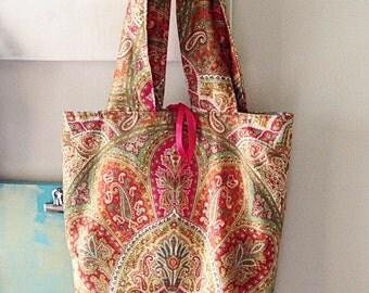 Large printed tote bag// fall colors
