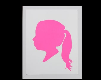 Custom Silhouette Portrait, Personalized Children's Silhouette Art,Profile,Custom Gift,Custom Keepsake,Nursery Art- 5x7 or 8x10 - HOT PINK
