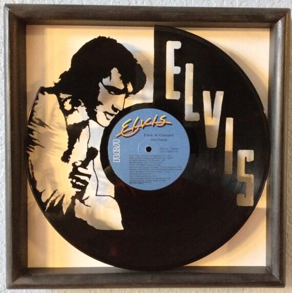Elvis presley elvis in concert cut framed vinyl lp for Vinyl records arts and crafts