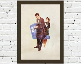 0087 Dr Who Matt Smith & Jenna Coleman A3 Wall Art Print Multiple Sizes