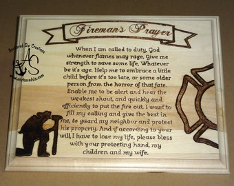 Fireman's Prayer - Wood Burning - Firefighting - Firefighter Gift - FD Decor - FD Gift - Man Cave