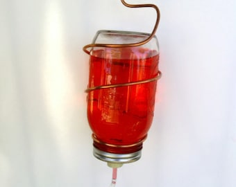 Mason Jar Hummingbird Feeder with Copper Hanger