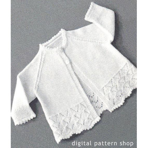 Knitting Pattern Child s Raglan Sweater : 1950s Vintage Knit Baby Sweater Pattern Lacy Raglan Sleeve