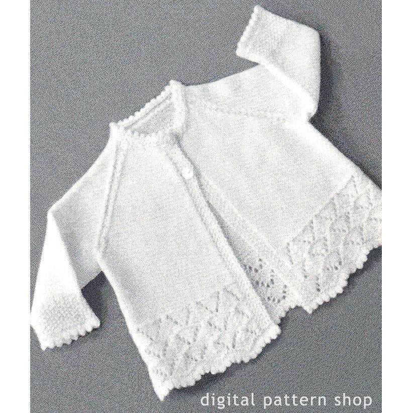 Knitting Pattern Raglan Sleeve Baby Cardigan : 1950s Vintage Knit Baby Sweater Pattern Lacy Raglan Sleeve