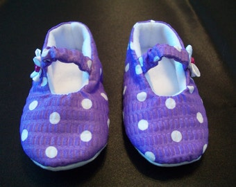 Baby shoes size 0-3 Mary Janes Handmade Purple