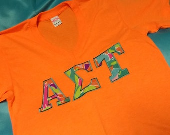 Alpha Sigma Tau Lilly V-Neck T-Shirt in Size Small to XL