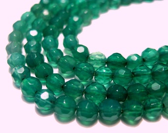 50pcs Green Candy Jade 4mm Round Faceted Stone Beads