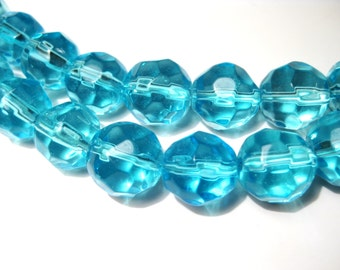 10pcs Round Clear Aqua Blue Faceted  Glass Beads 10pcs14mm