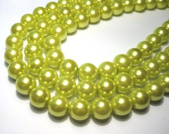 20pcs Glass Pearl Beads Lime Green 10mm Round