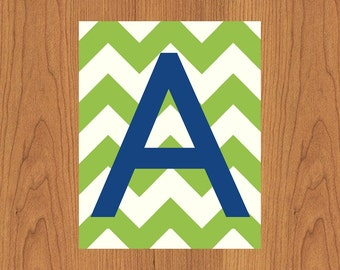 Letter A Wall Art Print Lime Green Navy Nursery Decor Chevron Monogram Baby Initial Nursery Decor Gender Neutral Home Decor 8x10 (114)
