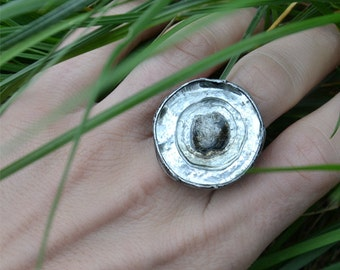 Statement ring, rustic ring, SILVERY RING, elegant ring, bohemian ring, adjustable ring, coctail ring, retro jewerly, raw ring, large ring