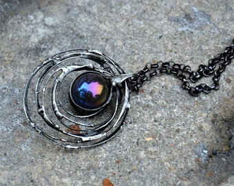 Black dazzling necklace, COSMIC necklace, statement necklace, galaxy jewelry, rustic necklace, large black pendant