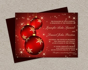 DIY Printable Christmas Wedding Invitations With Red And Gold Snowflake Ornaments, Elegant Christmas Wedding Invitation Cards