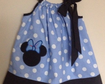 Custom Made Pillowcase Dress-  Minnie Mouse Head Applique Embroidered in Light Blue Polka Dot with Black  Hem and ribbon- NB- 8y/o