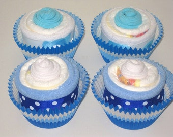 Baby Boy Diaper Cupcakes Gift Set