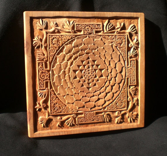 Unique Wood Wall Decor : Sri yantra carving wooden wall art decor personalized