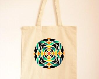 Geometric Print Tote Bag/ Cotton Bag/ Fabric Handbag/ Islamic Pattern Canvas Tote/ Blue and Yellow Pattern