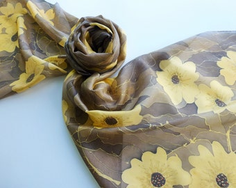 """Hand painted silk scarf. Handpainted silk scarf. Brown silk scarf with gold flowers. 14 x 71"""",  35 x 180 cm."""