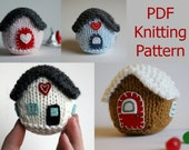 Knitting PATTERN / Stuffed Little House / Christmas Ornament / Decoration / PDF instant download / Knit Tutorial / Cute Gift