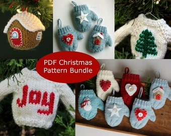 Christmas Knitting PATTERN / Knit Pattern Bundle / PDF instant download / Knit Decoration / Holiday Ornament Pattern Collection