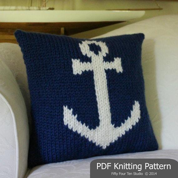 Nautical Cushion Knitting Pattern : Pillow KNITTING PATTERN / Cushion / Anchor / Nautical / Quick Knit / Super Bu...