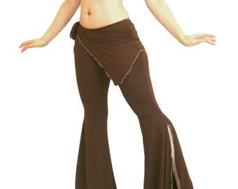 Tribal Belly Dance Pants with Huge Flare and Asymmetric Skirt (Valerie Pants) CUSTOM MADE