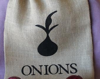 Burlap onion storage bag.  Garden storage bag.  Burlap Garden Bag.  Herb bag.  Custom Burlap Garden Bag.  Large Burlap Bag