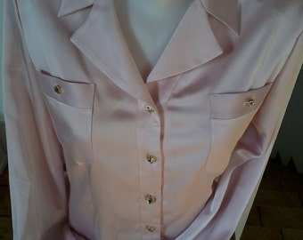BLOUSE pink pastel satin appearance MARIE CLEMENCE of Paris
