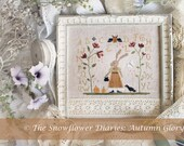 AUTUMN GLORY- official printed paper cross stitch pattern, The Snowflower Diaries, autumn, sampler, primitive, bunny, embroidery, broderie