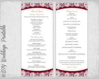 Wedding Program Template Maroon   Printable Program Templates