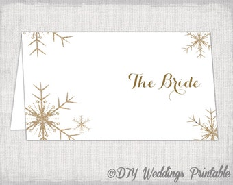 "Snowflake place card template - DIY Winter wedding printable name cards - Kraft / Ecru ""Snowflakes"" Editable template- instant download"