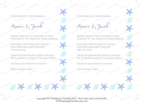 Printable Beach Wedding Invitations: Printable Beach Wedding Invitations Template DIY