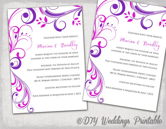 Wedding invitation templates Purple and Pink u0026quot;Scrollu0026quot; invitations -YOU ...