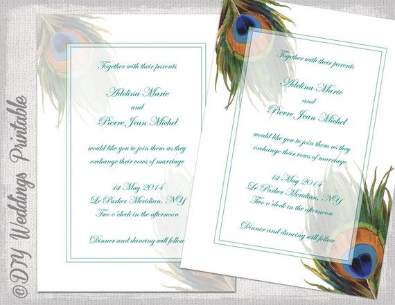 peacock wedding invitation template wedding invitations