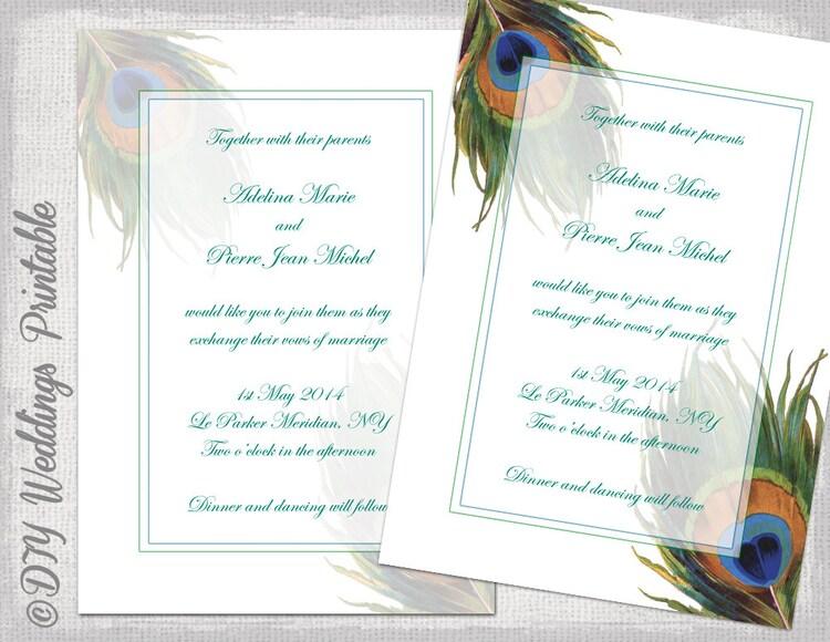Peacock Wedding Invitations Template: Peacock Wedding Invitation Template By Diyweddingsprintable