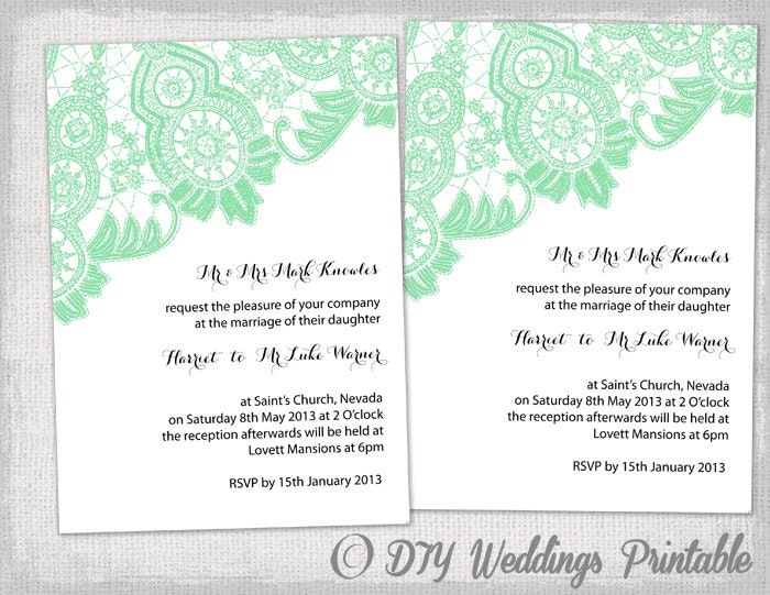 Diy wedding invitation template editable mint green for Wedding invitation template for sale