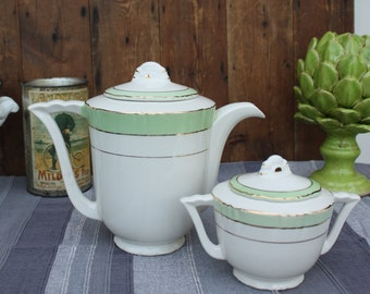 Beautiful French Vintage Ceramic Coffee Pot and Sugar Bowl