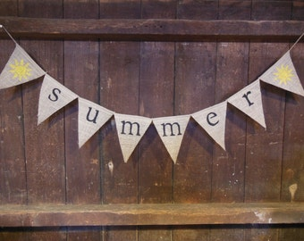 Summer Banner, Summer Bunting, Summer Garland, Home Decor, Summer Decor, Burlap Banner, Burlap Bunting, Photo Prop, Rustic, Burlap garland