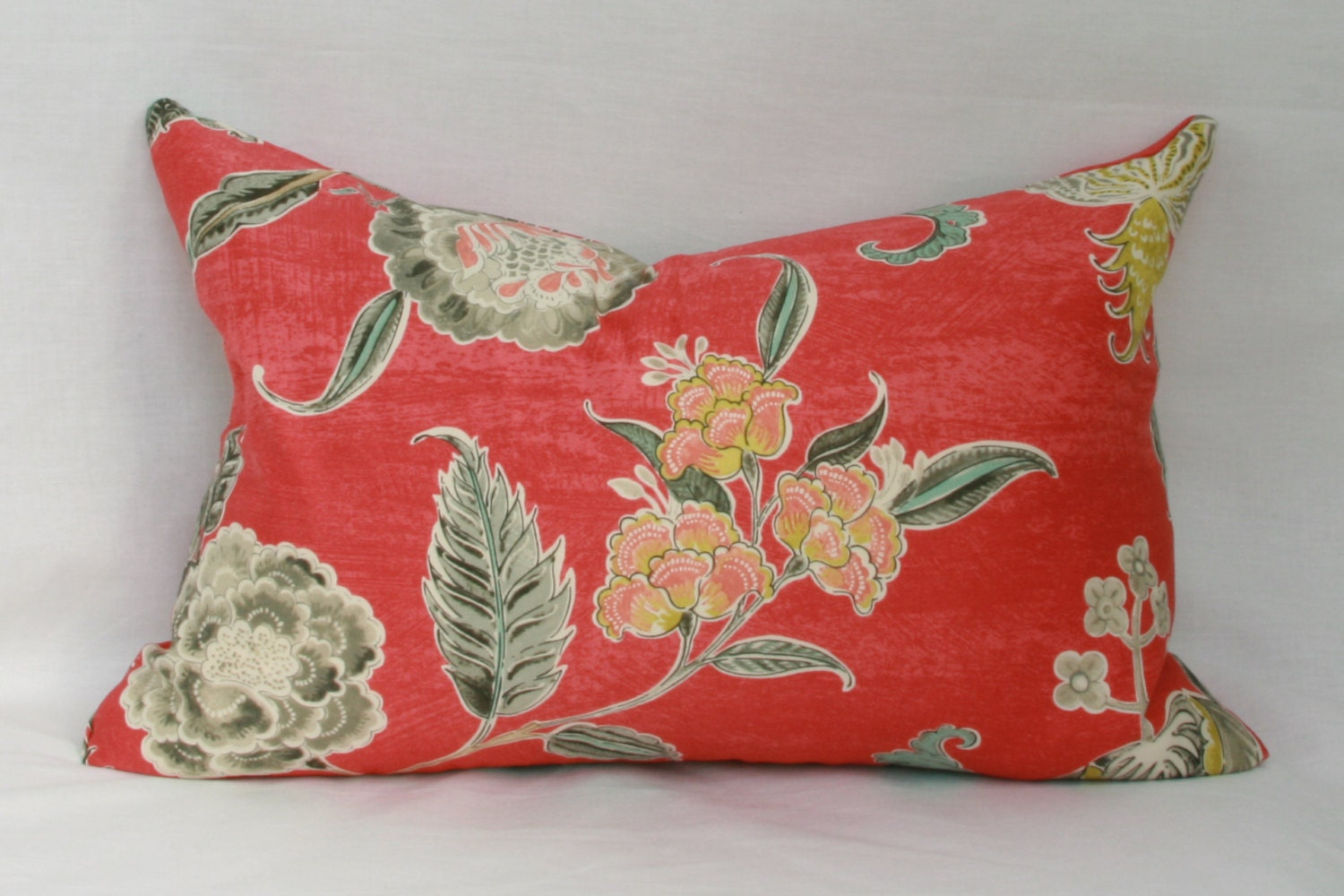 Red Floral Decorative Throw Pillow Cover. Waverly Asian Myth