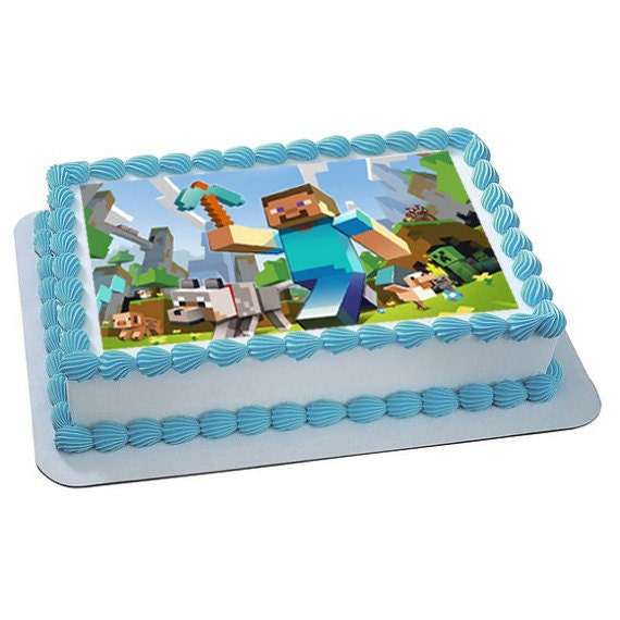 Items similar to Minecraft Personalized edible image, cake ...