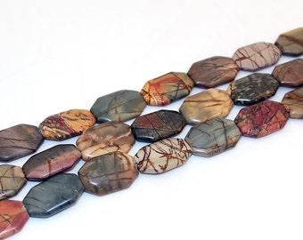 Picture Jasper Beads, 20x30mm Octogon, Smooth Matte Finish, 16 Inch Strand