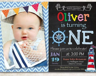 Chalkboard Th Birthday Invitation Seventh Birthday Invite - Digital first birthday invitation