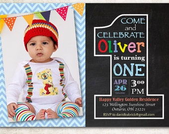 Chalkboard Seventh Birthday Invitation Th Birthday Invite - Digital first birthday invitation