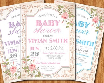 Baby Shower Invitation. Baby Girl, baby boy. Floral flowers. Invite. Pink, Purple, Blue. Printable Digital DIY.