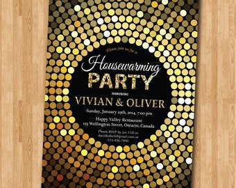 Housewarming Invitation. New house invite. Moving Invitations. Gold Glitter chalkboard background. Printaable digital DIY.